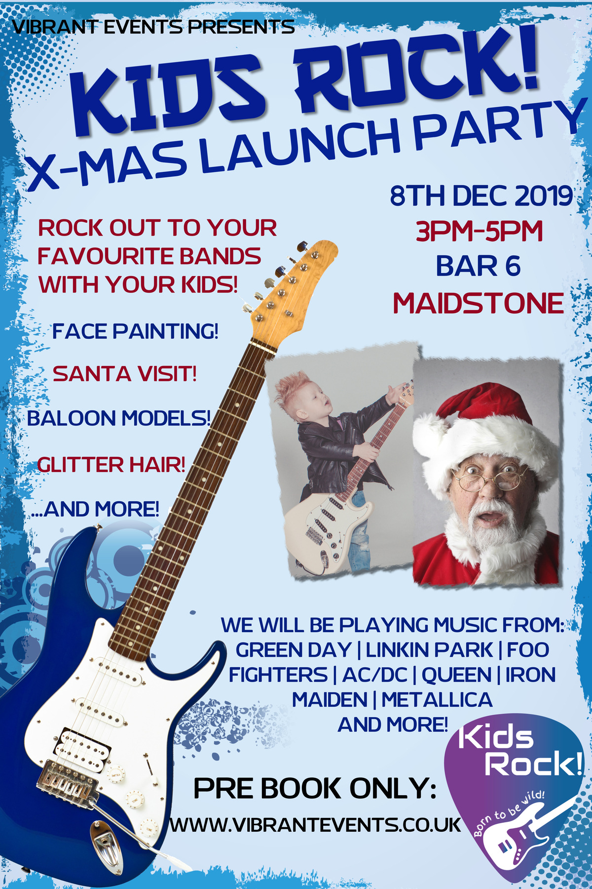 Kids Rock! X-mas launch party poster